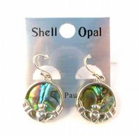 Paua Shell Claddagh Drop Earrings.